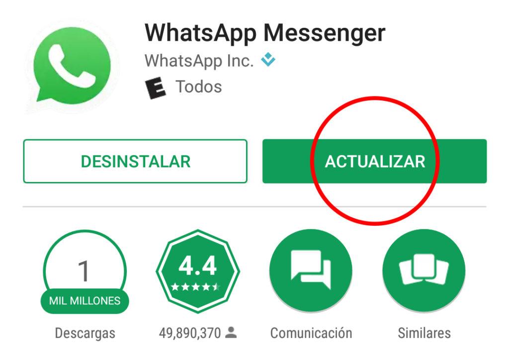 WhatsApp versión 2.17.23
