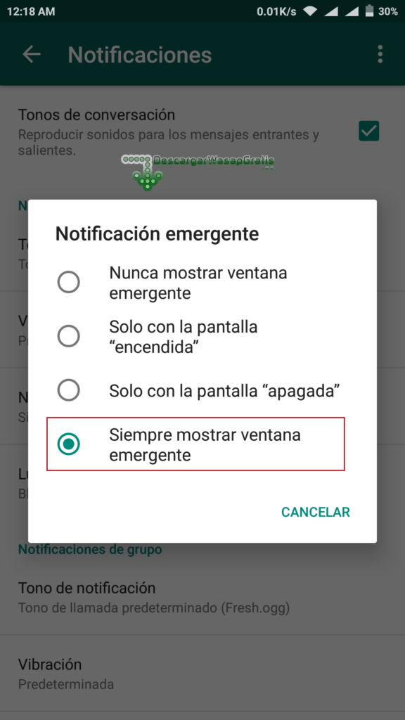 Notificación emergente